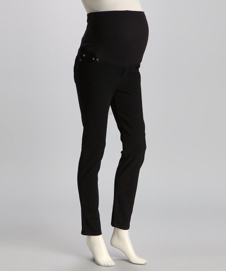 Black Twill Over-Belly Maternity Skinny Pants