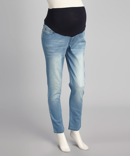 Light Wash Supersoft Over-Belly Maternity Skinny Jeans - Women