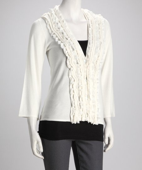 Ivory Lace Trim Cardigan