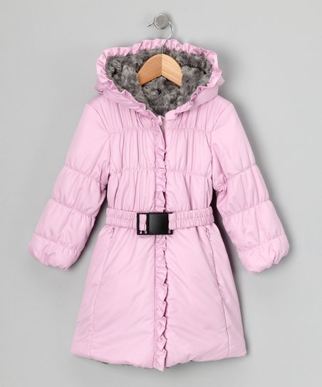 Pink & Pebble Rosette Fur Puffer Coat - Girls