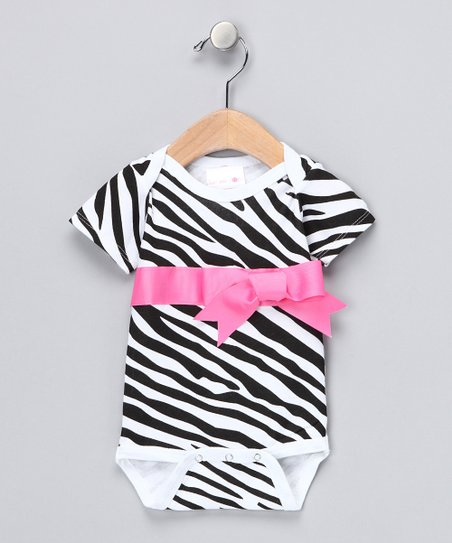 Pink Zebra Ribbon Bodysuit - Infant