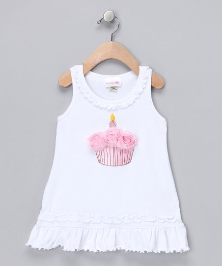 White Cupcake Rosette Dress - Infant & Toddler