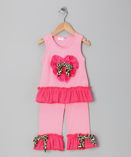 Light Pink Heart Ruffle Tank & Pants - Infant & Toddler