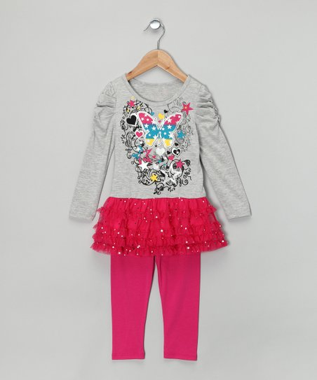 One Step Up Gray & Pink Ruffle Tunic & Leggings - Infant