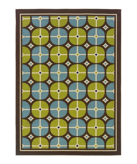 Brown & Blue Geometric Hyrcania Indoor/Outdoor Rug