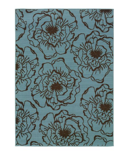 Blue & Brown Modish Blossom Hyrcania Indoor/Outdoor Rug