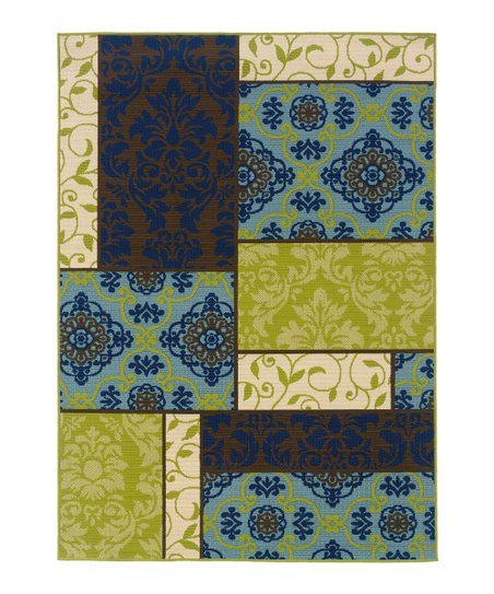 Brown & Blue Patchwork Hyrcania Outdoor Rug