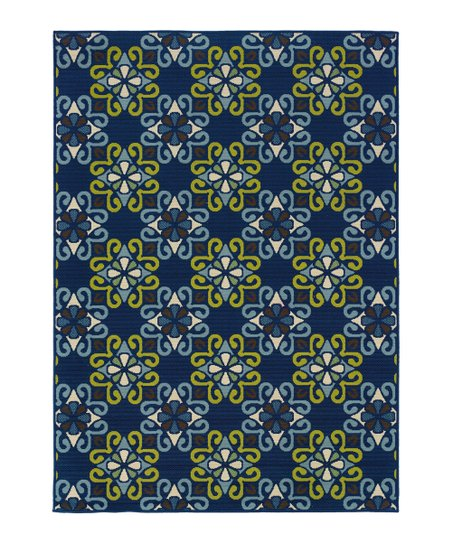 Blue & Gold Geometric Hyrcania Indoor/Outdoor Rug