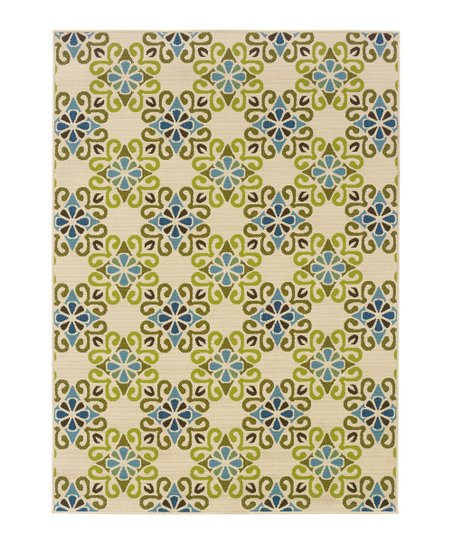 Ivory & Green Geometric Hyrcania Indoor/Outdoor Rug