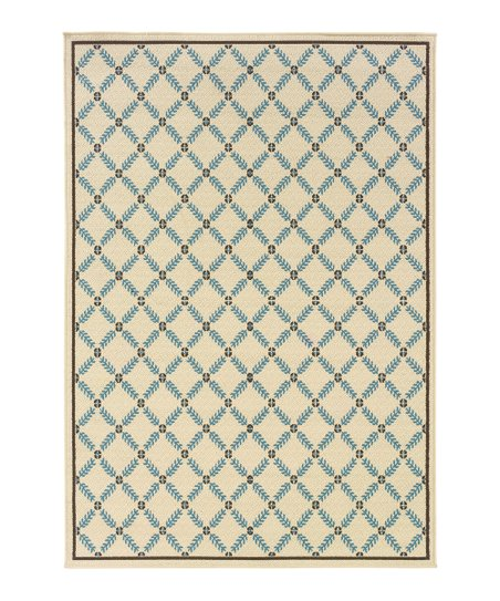 Ivory & Blue Lattice Hyrcania Indoor/Outdoor Rug