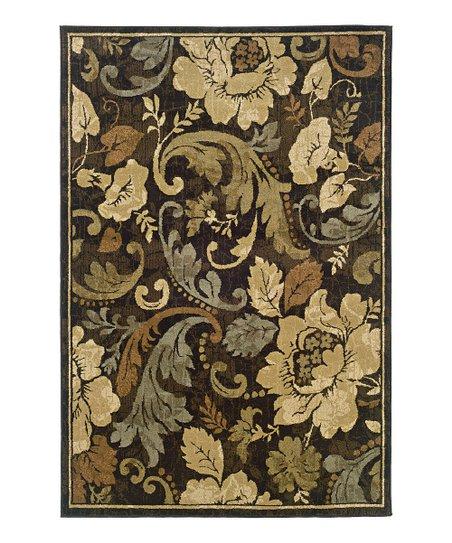 Brown Floral Elegance Newport Rug