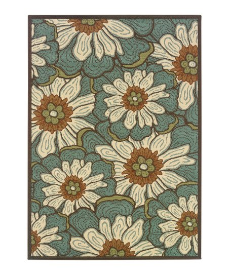 Blue Deco Flower Jamaica Indoor/Outdoor Rug