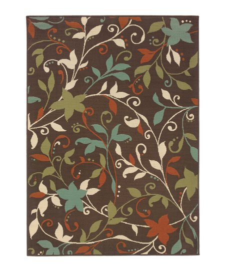 Brown Bright Bouquet Jamaica Indoor/Outdoor Rug