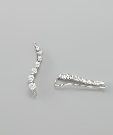 Silver Cubic Zirconia Journey Ear Pin Earrings