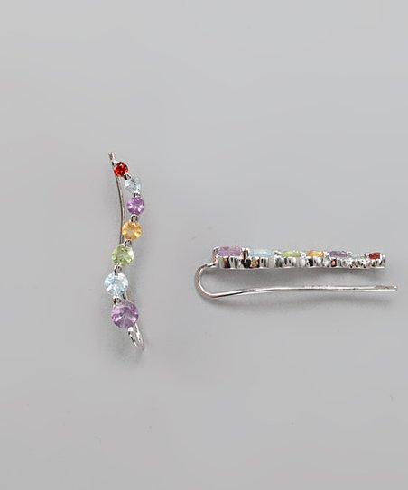 Silver & Rainbow Gemstone Journey Ear Pin Earrings