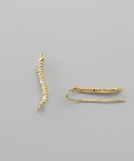 Gold Cubic Zirconia Classic 'S' Ear Pin Earrings