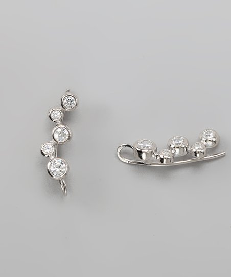 Silver Cubic Zirconia Bubble Ear Pin Earrings