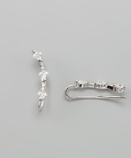 Silver &amp; Cubic Zirconia Triple Princess Ear Pin Earrings