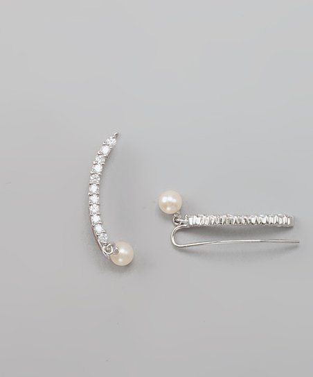 Cubic Zirconia &amp; Freshwater Pearl Ear Pin Earrings