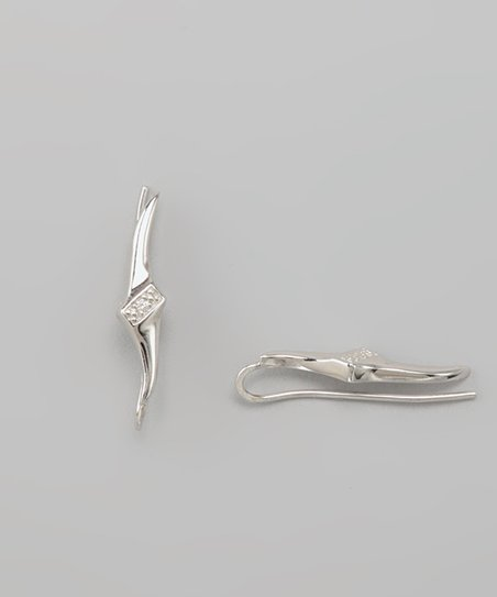 Silver Diamond Tapered Swirls Ear Pin Earrings