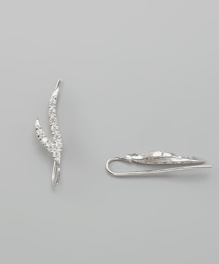 Silver Cubic Zirconia Double Branch Ear Pin Earrings