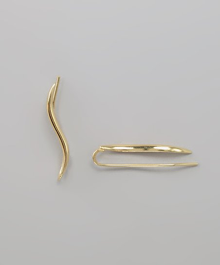 Gold Polished Classic Ear Pin Earrings