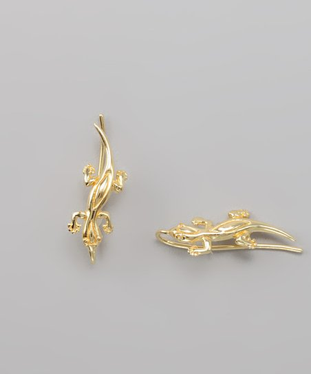 Gold Hawaii's Good Luck Gecko Ear Pin Earrings