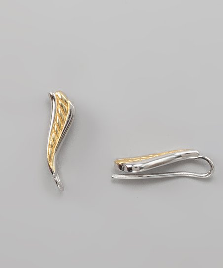 Silver &amp; Gold Twisted Rope Ear Pin Earrings