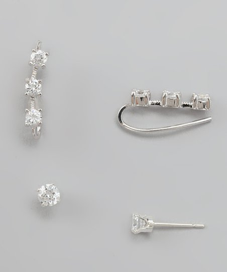 Silver Cubic Zirconia 3-in-1 Earrings Set