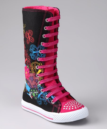 Black & Fuchsia Princess Extra Hi-Top Sneaker