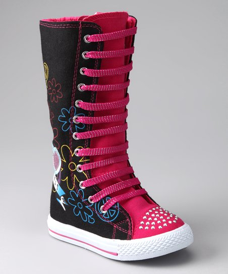 Black & Fuchsia Flower Extra Hi-Top Sneaker