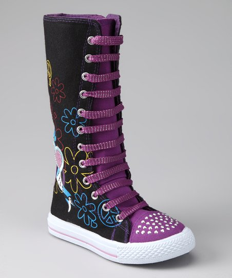 Black & Purple Flower Extra Hi-Top Sneaker