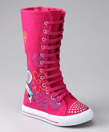 Fuchsia Flower Knee-High Sneaker