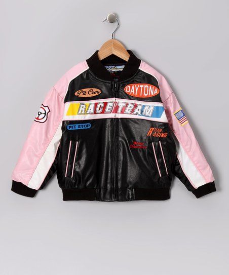 Pink & Black Racing Jacket - Toddler & Girls