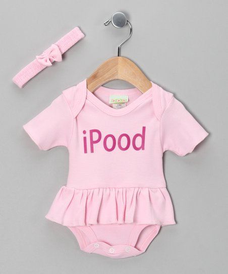 Pink 'iPood' Ruffle Bodysuit & Headband - Infant