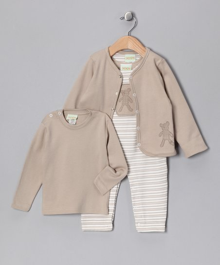 Beige Stripe Playsuit Set - Infant