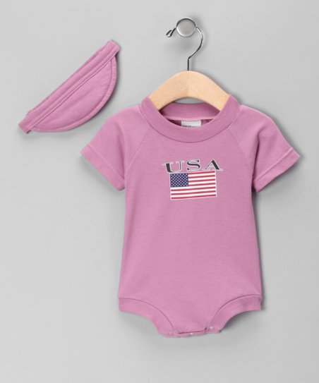 Mauve 'USA' Bodysuit & Visor - Infant