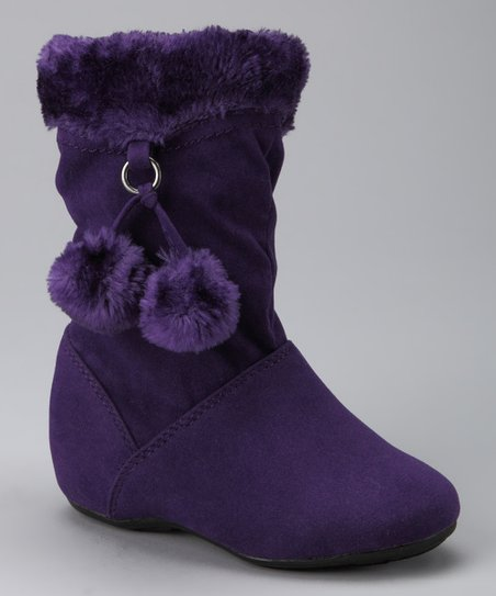 PINKY FOOTWEAR Purple Bobbie Zip-Up Pom-Pom Boot