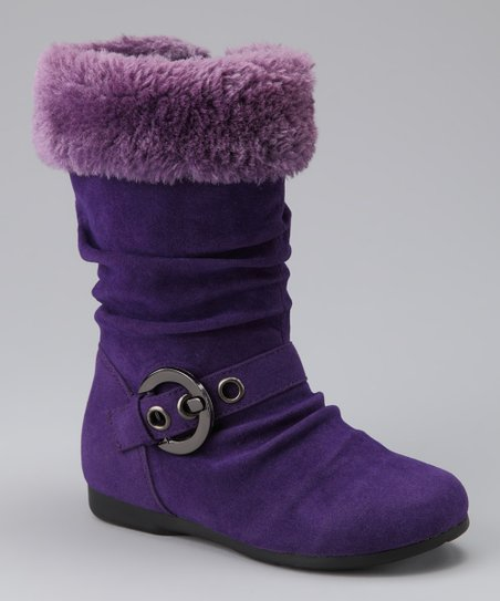 PINKY FOOTWEAR Purple Thalia Zip-Up Buckle Boot