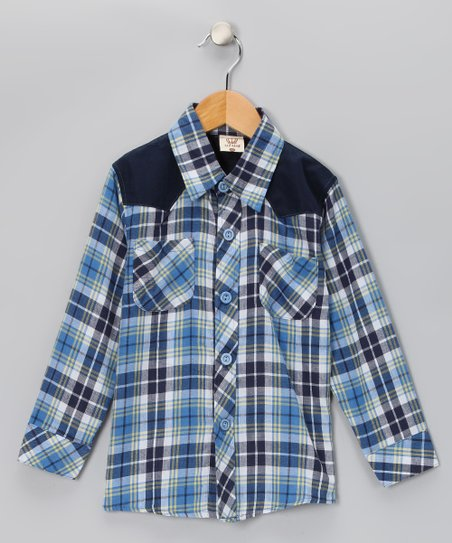 Blue Plaid Rock Button-Up - Toddler & Boys