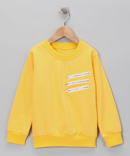 Yellow Zipper Crewneck Sweatshirt - Toddler & Girls