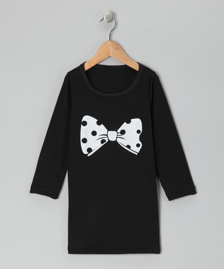 Black Polka Dot Bow Tee Dress - Toddler & Girls