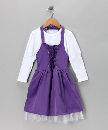 White Tee & Purple Halter Dress - Toddler & Girls