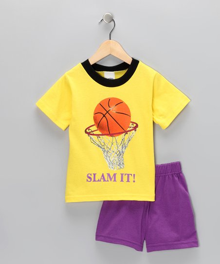 Yellow 'Slam It' Tee & Purple Shorts - Boys