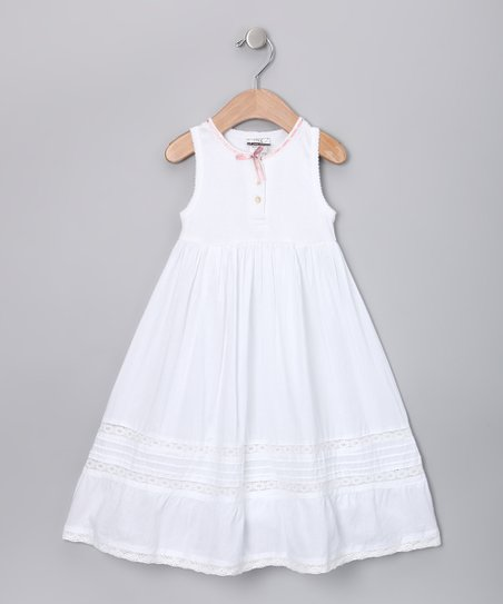 White Crochet A-Line Dress - Toddler & Girls