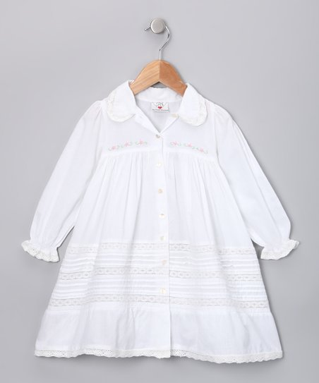 White Lace Button-Up Dress - Toddler & Girls