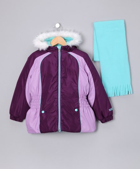 Purple & Lavender Jacket & Blue Scarf - Toddler