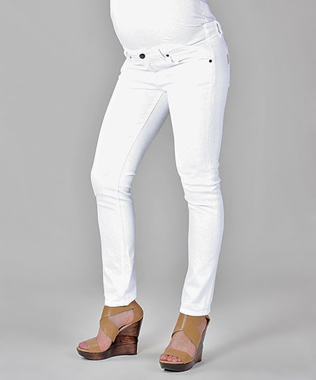 Optic White Skyline Ankle Peg Under-Belly Maternity Jeans