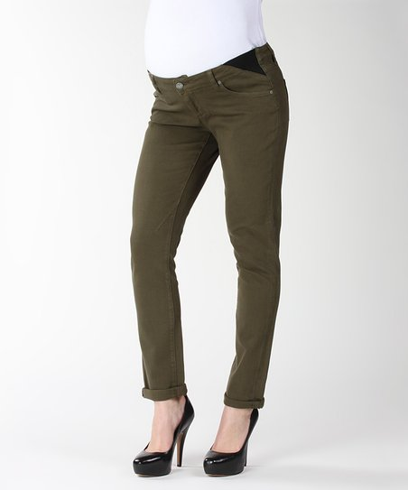 Dark Olive Troy Boy Under-Belly Maternity Jeans