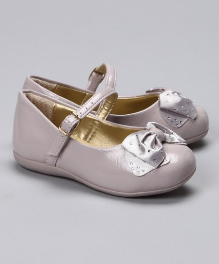 Beige Rhinestone Bow Mary Jane